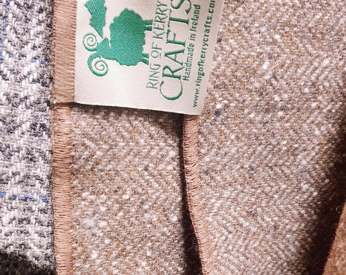 Irish tweed wool scarf -100% wool- brown/beige herringbone/ salt and pepper -hand fringed -ready for shipping - unisex - HANDMADE IN IRELAND