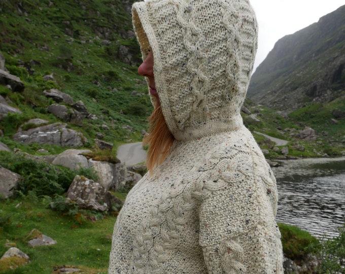 Hooded Aran Zipper cardigan - cream with fleck - 100% pure new wool - MADE IN IRELAND