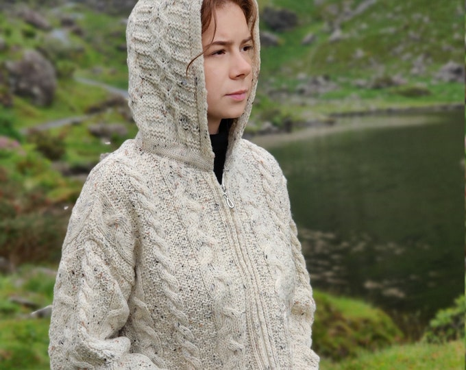 Irish Aran Long Hooded Zipper Cardigan With Pockets - Cream Nep / With Fleck - 100% Pure New Wool - Really Warm & Chunky - MADE IN IRELAND