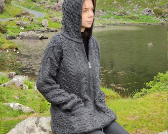 Irish Aran Long Cardigan with pockets - hooded -  two-way zipper  - charcoal - 100% pure new wool - really warm and chunky - MADE IN IRELAND
