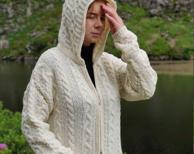 Irish Aran Long Hooded Cardigan With Pockets - Cream - 100% Pure New Wool - Really Warm & Chunky - Proper Aran - MADE IN IRELAND