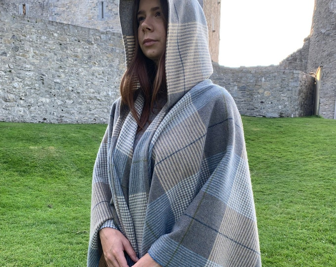 Hooded Supersoft Lambswool Cape, Ruana, Wrap , Shawl - 100% Pure New Wool - Cream Taupe Denim Check -One Size Fits All - HANDMADE IN IRELAND