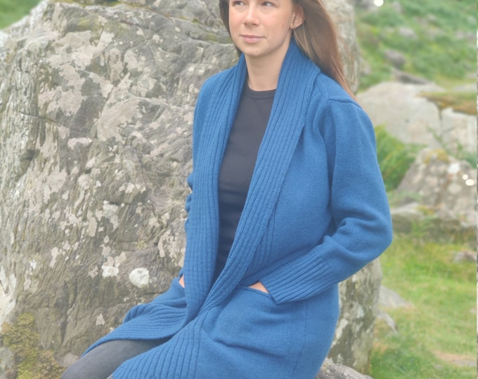 Rib Edge Knitted Long Ladies Jacket with Pockets - 100% Pure New Soft Lambswool - Teal - really warm & chunky - HANDMADE IN IRELAND