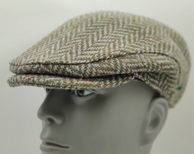 Donegal Irish tweed flat cap - green speckled / fleck herringbone - 100% wool - padded - HANDMADE IN IRELAND