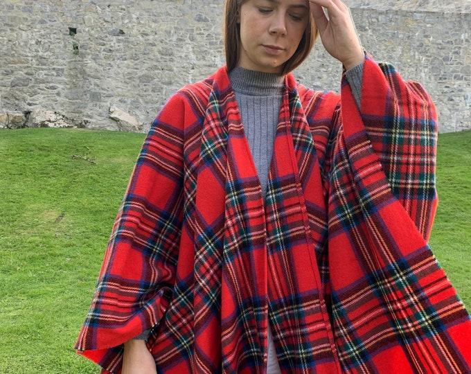 Irish Pure Lambswool Cape, Ruana, Wrap, Shawl - 100% Pure New Wool - Royal Stewart Tartan/Plaid Check - Supersoft - HANDMADE IN IRELAND