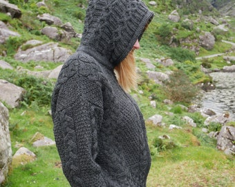 Hooded Aran Zipper Cardigan - Charcoal - 100% Pure New Wool - Chunky & Heavy - MADE IN IRELAND