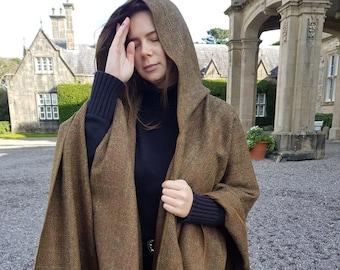 Irish tweed wool hooded ruana, wrap, arisaid - bronze/brown  herringbone with overcheck  - HANDMADE IN IRELAND