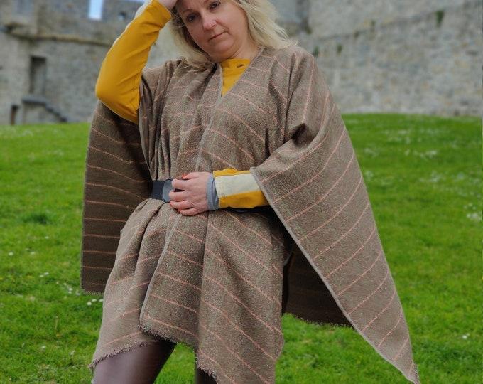 Burette silk ruana wrap - light brown with green/teal & light orange window check-for sensitive skin-woven in Ireland - HANDMADE IN IRELAND