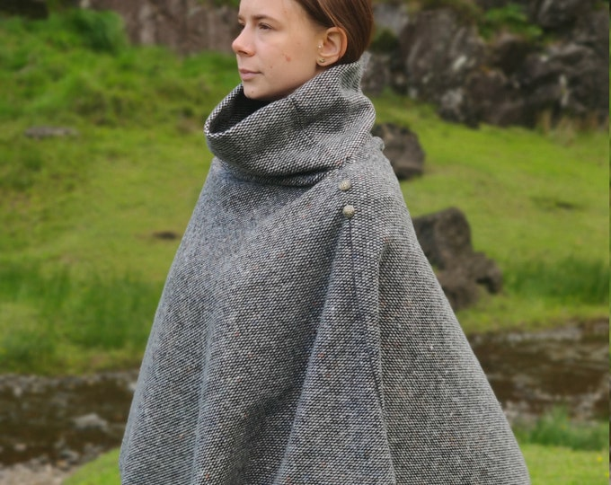 Turtleneck poncho - 100% Pure New Irish Wool - small checkered black & white pattern with multicolour fleck - one size - HANDMADE IN IRELAND