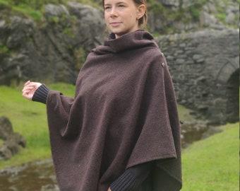 Irish felted wool turtleneck poncho - 100% Pure New Wool - burgundy brown - one size - HANDMADE IN IRELAND