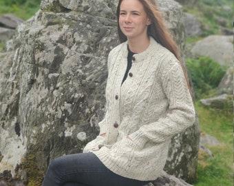 Aran Wool Cardigan Lumber Jacket - cream with fleck/nep - buttoned cardigan - 100% Pure New Wool - HANDMADE IN IRELAND