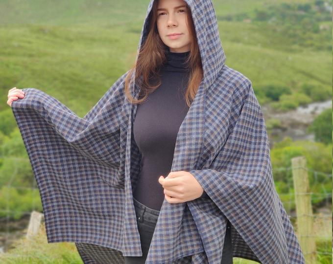 Irish lambswool hooded ruana wrap, cape, arisaid - navy/grey blue/bronze plaid - HANDMADE IN IRELAND