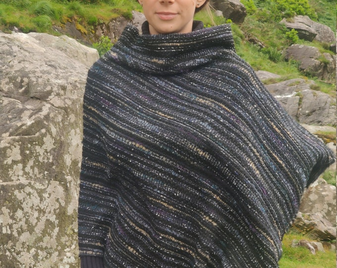 Irish buckle wool turtleneck poncho - 100% Pure New Wool - black/navy/teal/beige stripes with gold thread - one size - HANDMADE IN IRELAND
