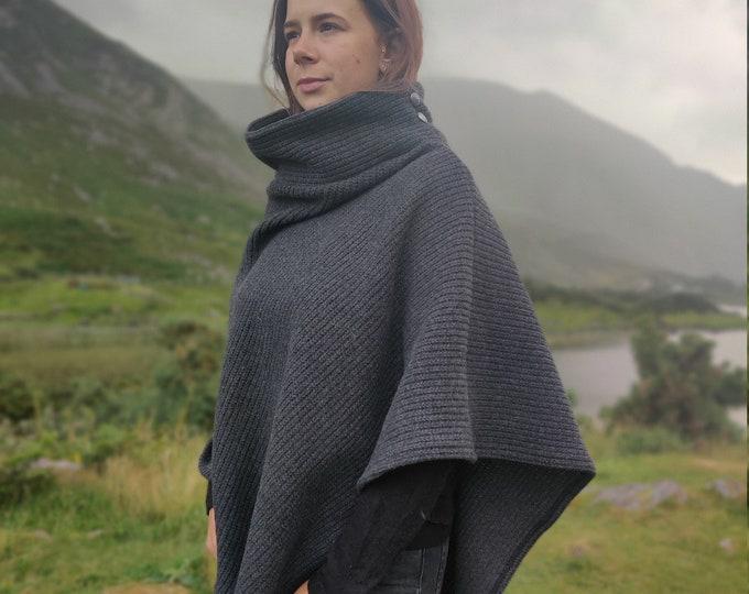 Irish wool knitted turtleneck poncho - 100% pure new wool - ribbed - dark grey -  very warm - one size - HANDMADE IN IRELAND