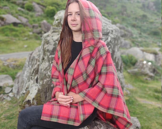 Irish soft lambswool hooded ruana, wrap, arisaid - pink/green/purple plaid check, tartan - 100% Pure New Wool - HANDMADE IN IRELAND
