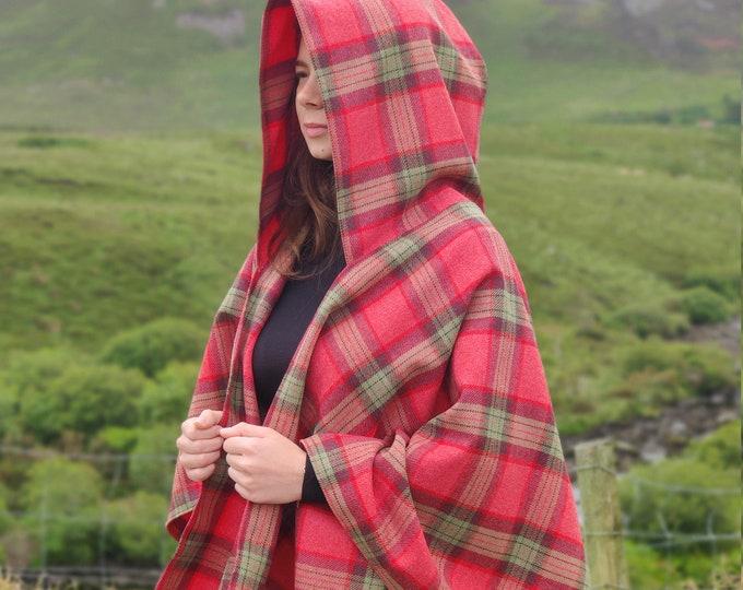Irish super soft lambswool hooded ruana, wrap, arisaid - pink/green/purple plaid check, tartan - HANDMADE IN IRELAND