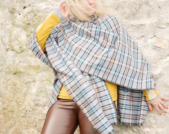 Burette silk ruana wrap - grey/white/navy/teal/orange plaid check - tartan -perfect for sensitive skin-woven in Ireland-HANDMADE IN IRELAND