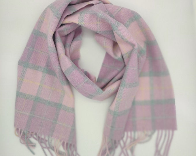 Irish Soft Lambswool Scarf - 100% Pure New Wool - pink/baby pink/green - tartan/plaid check - very soft - unisex - HANDMADE IN IRELAND