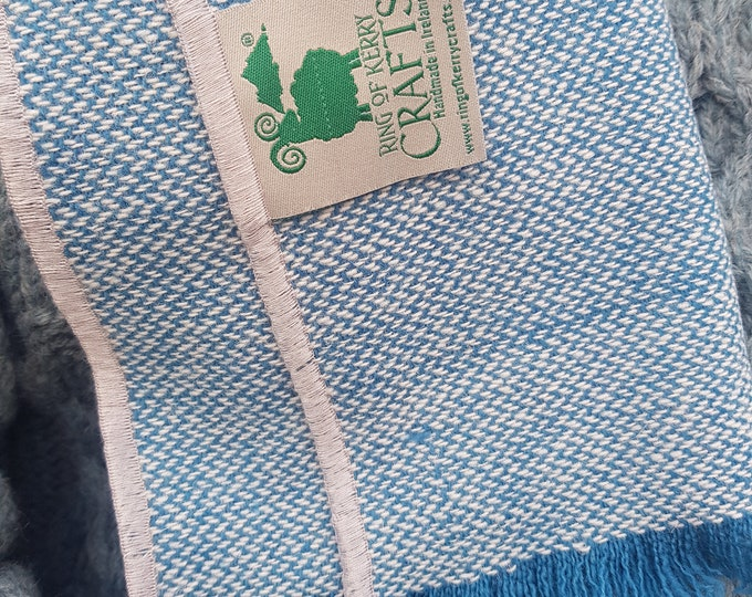 Irish tweed wool scarf - 100% pure new wool - ocean blue/ cyan / turquoise / white chevron - unisex -hand fringed - HANDMADE IN IRELAND