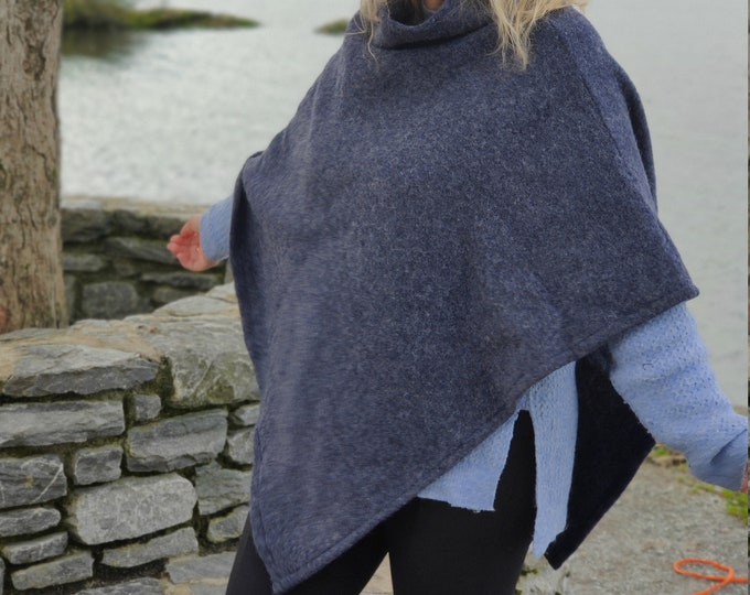 Irish felted wool turtleneck poncho - 100% pure new wool - very warm - navy - ready for shipping - HANDMADE IN IRELAND