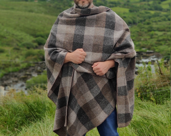 Irish tweed ruana, wrap, cape, cloak - HEAVY TWEED - beige/bronze/brown/grey patch - 100% pure new wool - Handmade in Ireland
