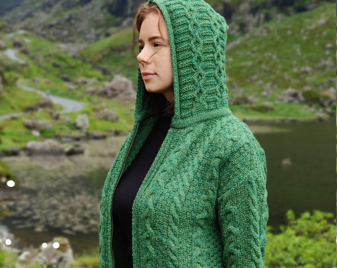 Irish Aran Long Hooded Zipper Cardigan With Pockets - Green - 100% Pure New Wool - Really Warm And Chunky - Proper Aran - MADE IN IRELAND