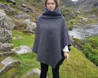 Irish felted wool turtleneck poncho - 100% pure new wool - very warm - dark grey - ready for shipping - HANDMADE IN IRELAND