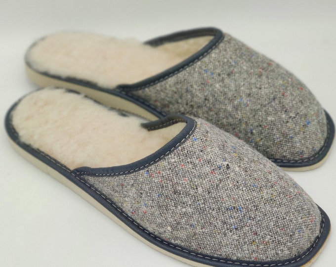Irish Donegal tweed slippers - lined with undyed wool - hardened foam sole - speckled grey / with fleck / salt & pepper - MADE IN IRELAND