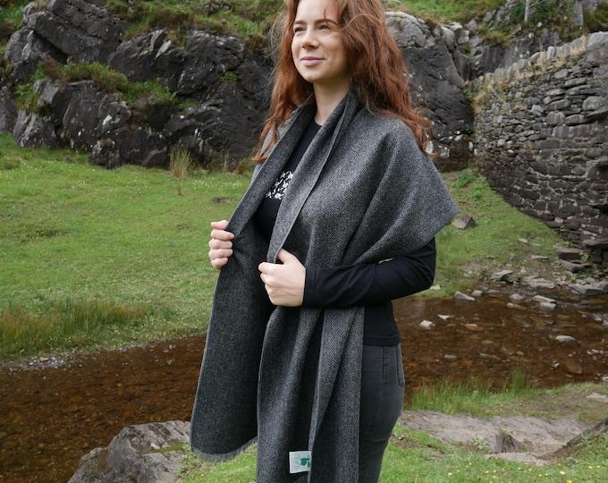 Irish tweed shawl, oversized scarf, stole - grey & black herringbone - 100% wool - hand fringed - ready for shipping - HANDMADE IN IRELAND