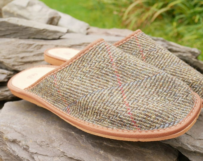 Irish Tweed & Leather slippers -FREE SHIPPING- with durable sole-green herringbone/red and blue overcheck-Made in Ireland-ready for shipping
