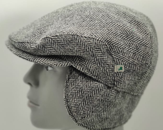 Irish tweed flat cap - black & white herringbone - 100% wool - padded - with foldable ear flaps - HANDMADE IN IRELAND