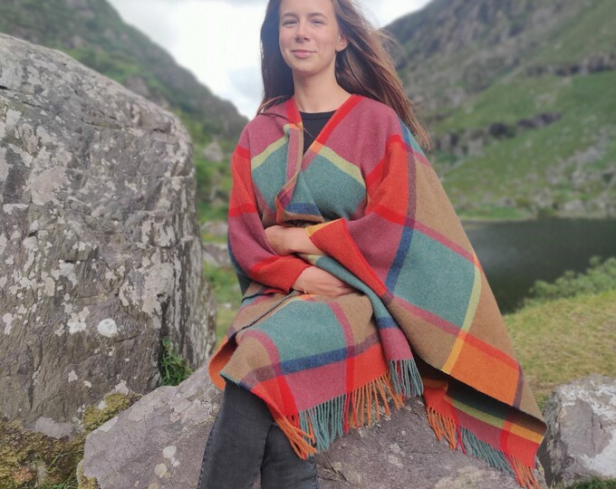 Irish Pure Lambswool Cape, Ruana, Wrap , Shawl - 100% Pure New Wool - multicolour block check - supersoft  - HANDMADE IN IRELAND