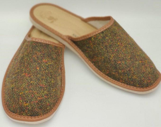 Gents Irish Donegal Tweed Slippers - forest green speckled green - ready for shipping - MADE IN IRELAND