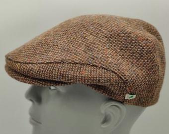 Donegal Irish tweed flat cap  / Paddy cap - speckled brown/ multicolour fleck -100% wool - padded - HANDMADE IN IRELAND