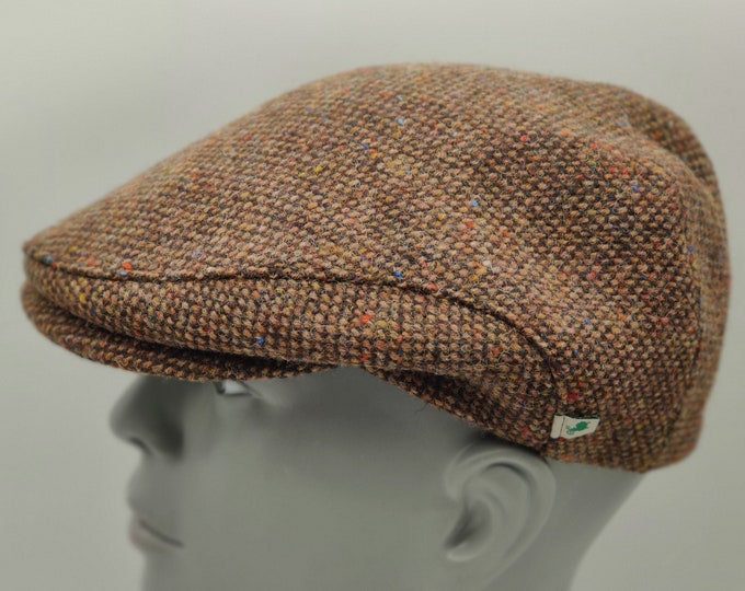 Donegal Irish tweed flat cap  / Paddy cap - speckled brown/ multicolour fleck -100% wool - padded - HANDMADE IN IRELAND
