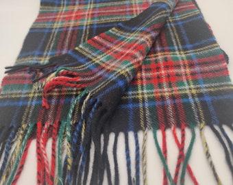 Irish Soft Lambswool scarf - 100% Pure New Wool - black/red/green/blue/yellow/white- tartan/plaid check - very soft - HANDMADE IN IRELAND