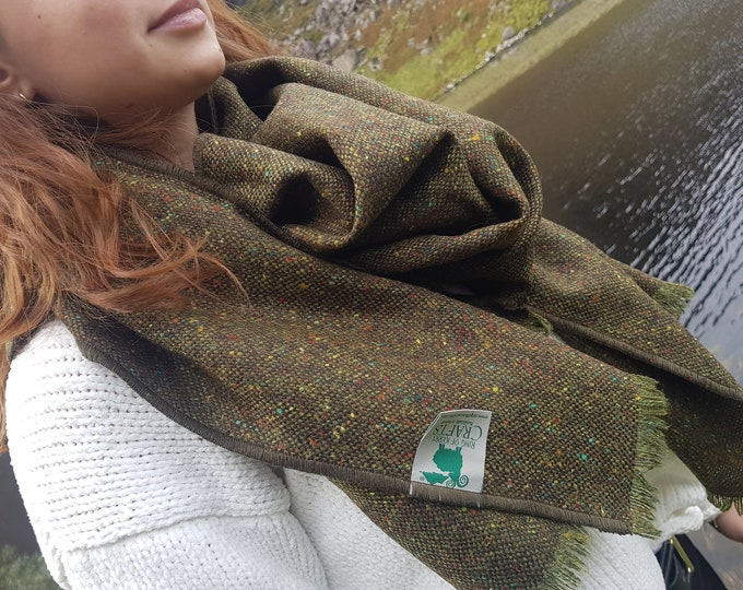 Irish Donegal tweed shawl, oversized scarf, stole - speckled green with fleck - 100% Pure New Wool - hand fringed - HANDMADE IN IRELAND