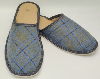 Gents Irish Tweed Slippers - green/blue/black tartan - plaid - check  - ready for shipping - MADE IN IRELAND