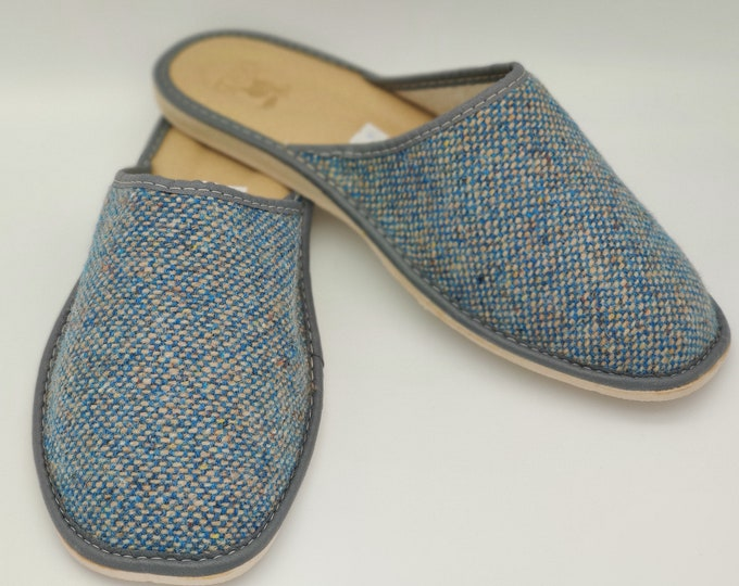 Gents Irish Tweed Slippers - turquoise / grey - ready for shipping - MADE IN IRELAND