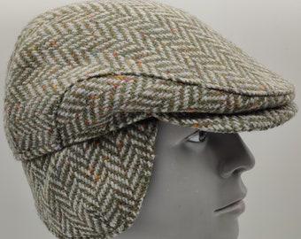 Donegal Irish tweed flat cap - green speckled / fleck herringbone - 100% wool -padded - with foldable ear flaps -HANDMADE IN IRELAND