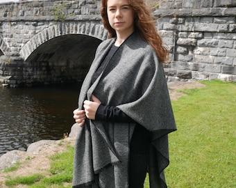 Irish tweed wool ruana,wrap,cape,coat,arisaid - black/white  herringbone - 100% pure new wool -ready for shipping - HANDMADE IN IRELAND