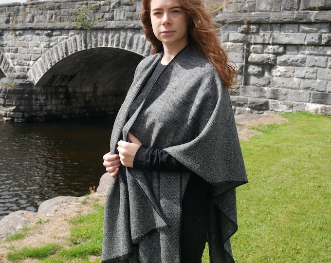 Irish tweed wool ruana,wrap,cape,coat,arisaid - black/white  herringbone - 100% pure new wool -ready for shipping - HANDMADE IN IRELAND