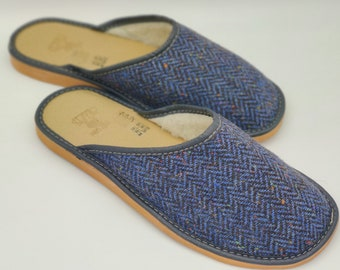 Gents Irish Donegal Tweed Slippers - bleue/navy speckled herringbone - upper lined with wool - ready for shipping - MADE IN IRELAND