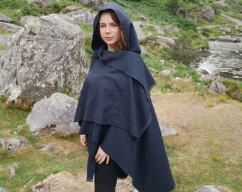 Irish tweed hooded ruana - hooded wrap - arisaid - navy blue - HANDMADE IN IRELAND - ready for shipping