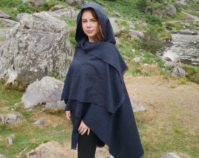 Irish tweed hooded ruana - hooded wrap - arisaid - navy blue - HANDMADE IN IRELAND - ready for shipping
