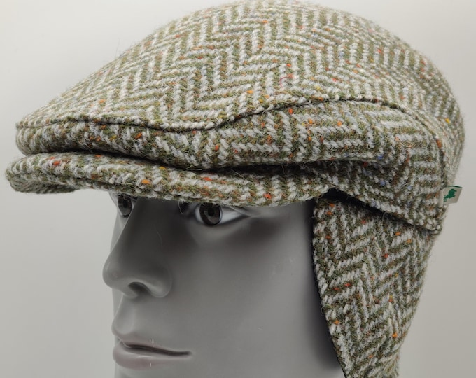 Donegal Irish tweed flat cap - green speckled / fleck herringbone - 100% wool -padded - with foldable ear flaps -HANDMADE IN IRELAND