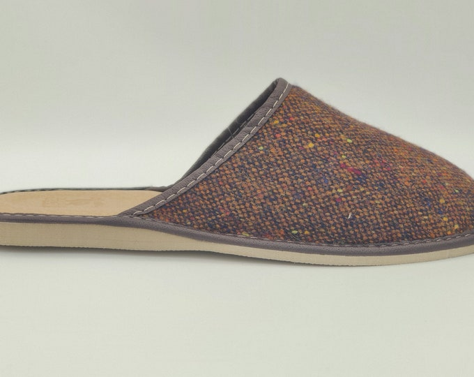 Irish Donegal tweed & genuine leather slippers - with durable sole - speckled brown - ready for shipping - MADE IN IRELAND