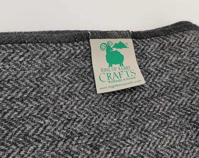 Irish tweed wool scarf - 100% pure new wool - charcoal/grey herringbone - HANDMADE IN IRELAND