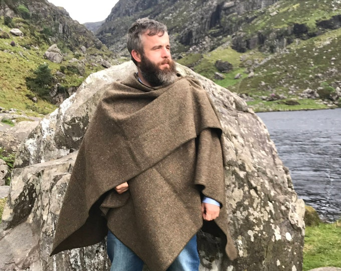 Irish tweed wool ruana ,wrap,cape, coat ,arisad -green/brown melange/HEAVY TWEED/-100% wool -ready for shipping -Handmade in Ireland