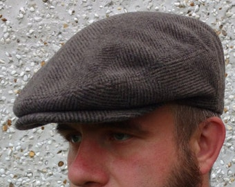 1bc2142472415 Traditional Irish tweed flat cap-FREE WORLDWIDE SHIPPING - brown  herringbone - 100% wool - ready for shipping - Handmade in Ireland